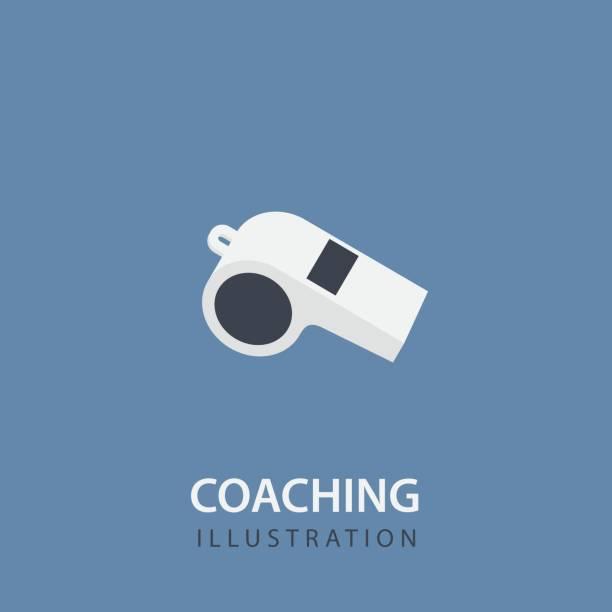 illustrazioni stock, clip art, cartoni animati e icone di tendenza di flat white whistle isolated. sport coaching concept - fischietto