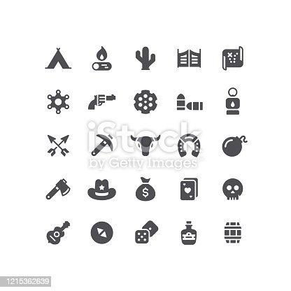 Set of wild west flat vector icons.