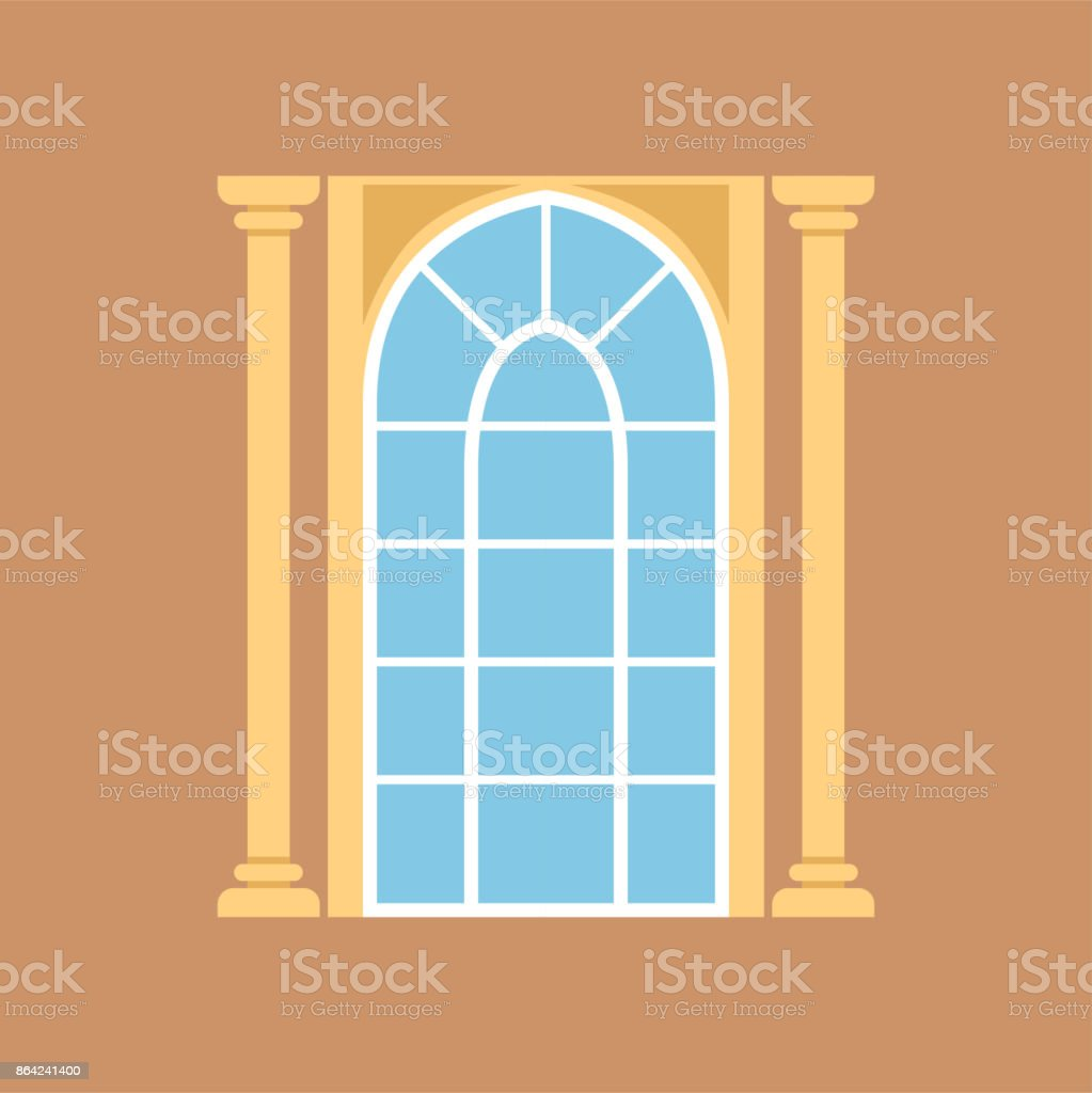 Flat window on brown wall decorated with columns royalty-free flat window on brown wall decorated with columns stock vector art & more images of art