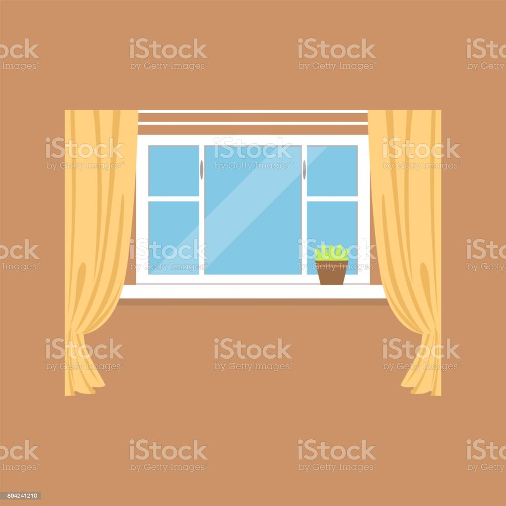 Flat window with curtains on brown wall royalty-free flat window with curtains on brown wall stock vector art & more images of art