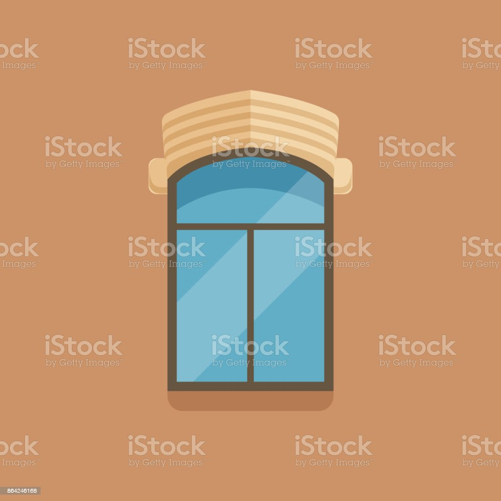 Flat window with facade cornice on brown wall royalty-free flat window with facade cornice on brown wall stock vector art & more images of art