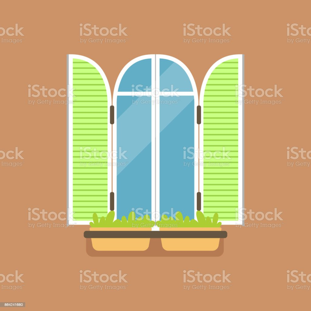 Flat window with green shutters and potted flowers royalty-free flat window with green shutters and potted flowers stock vector art & more images of art
