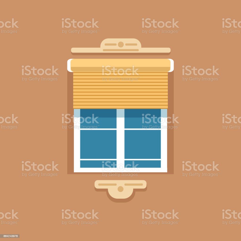 Flat window with jalousie and decorative facade cornice royalty-free flat window with jalousie and decorative facade cornice stock vector art & more images of art