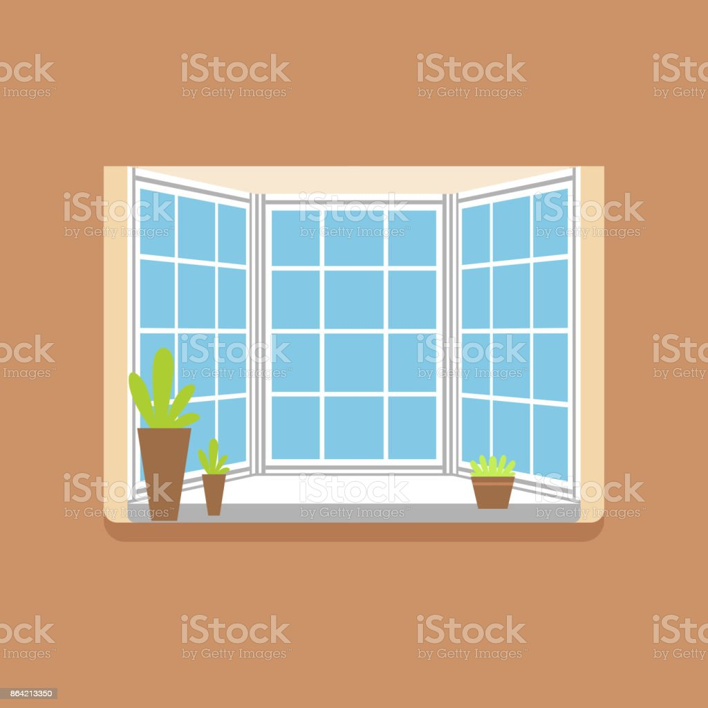 Flat window with potted plants on a windowsill royalty-free flat window with potted plants on a windowsill stock vector art & more images of art