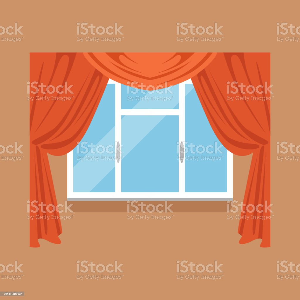 Flat window with red curtains on brown wall royalty-free flat window with red curtains on brown wall stock vector art & more images of art