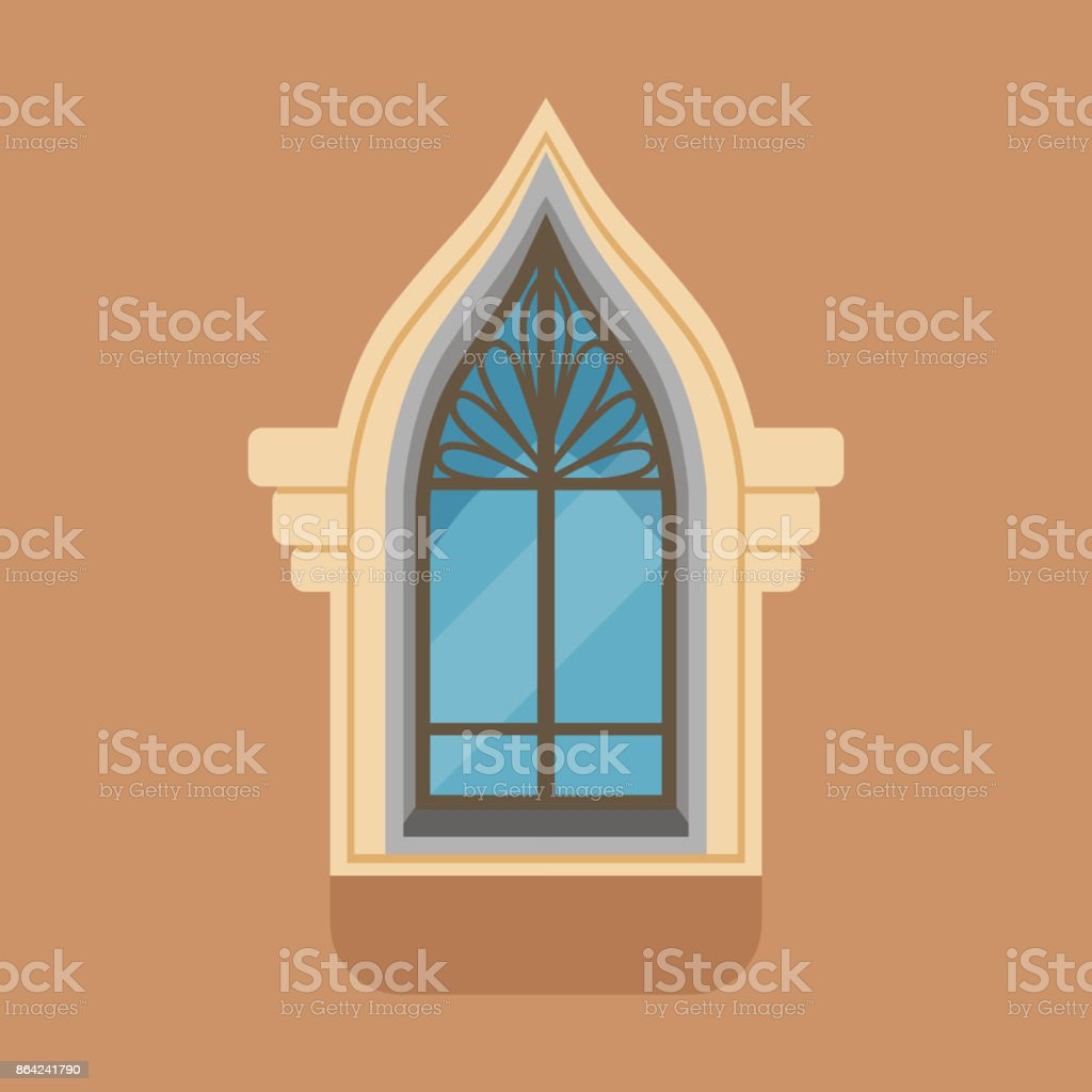 Flat window with unusual gothic form on brown wall royalty-free flat window with unusual gothic form on brown wall stock vector art & more images of art