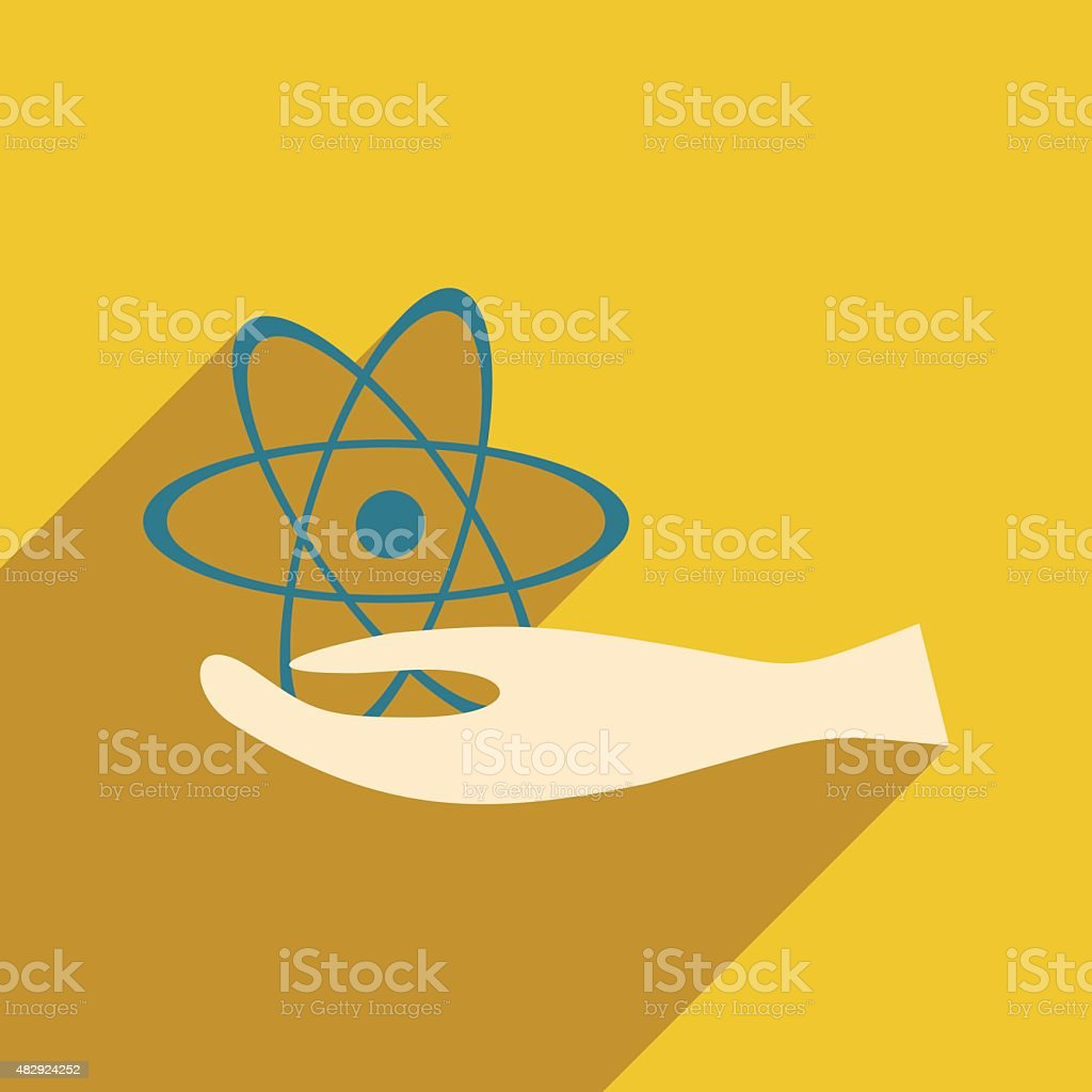 Flat with shadow icon and mobile application atom vector art illustration
