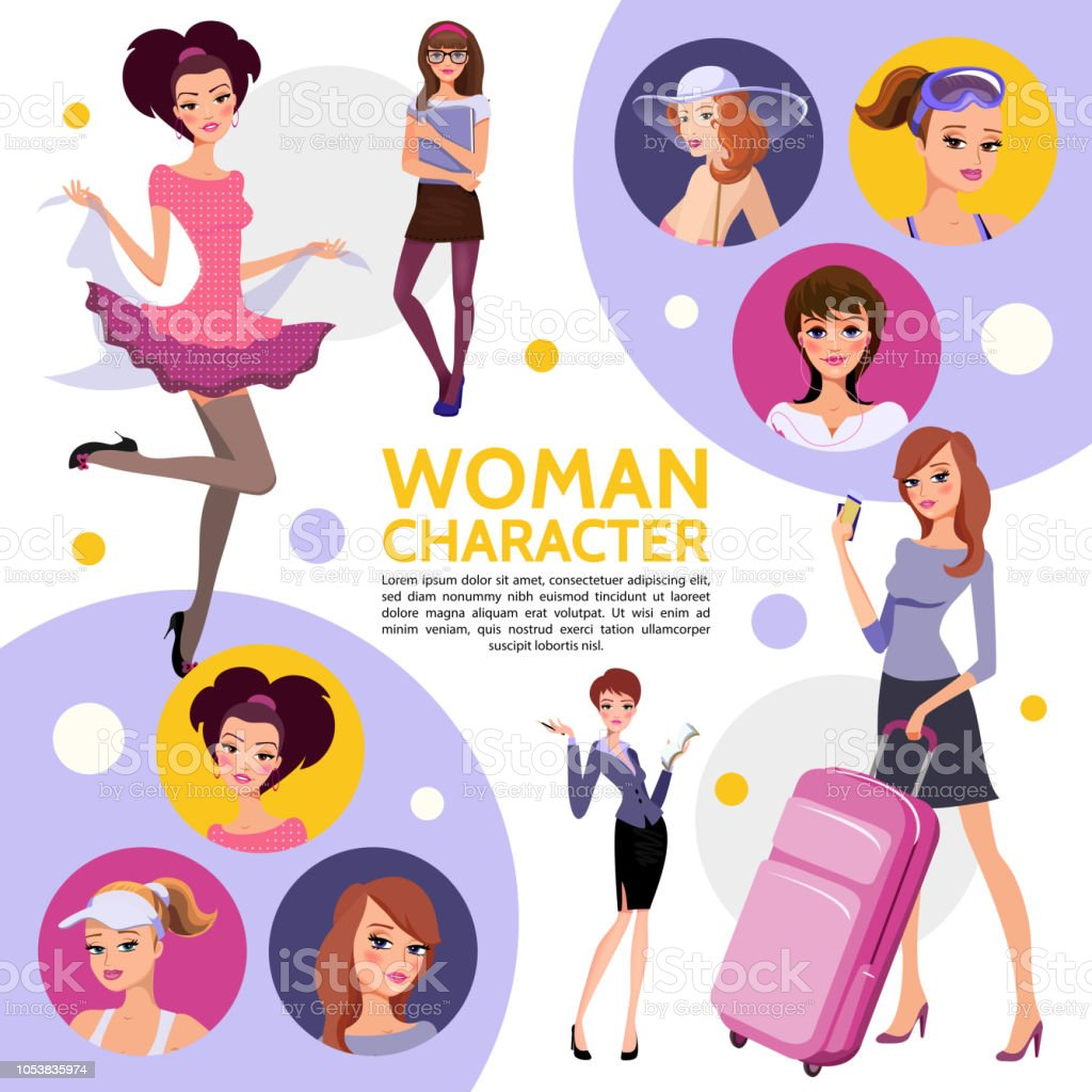 Flat Woman Characters Composition vector art illustration