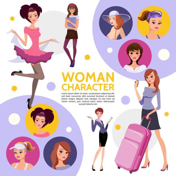 flat woman characters composition - business casual fashion stock illustrations