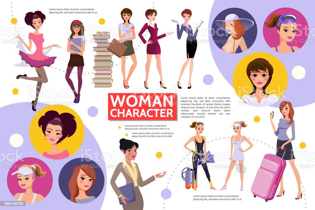Flat Woman Characters Infographic Concept flat woman characters infographic concept - stockowe grafiki wektorowe i więcej obrazów awatar royalty-free