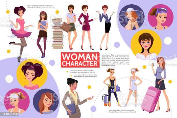 Koncepcja Infografiki Postaci Płaskich Kobiet - Stockowe grafiki wektorowe i więcej obrazów Awatar