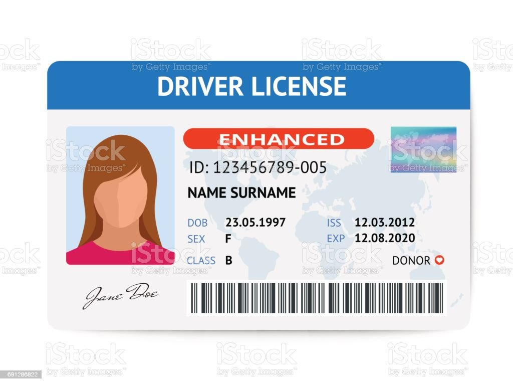 Art Vector Istock Of More Images Woman Card Template Plastic Stock Flat - Illustration Driver Adult License Id amp;