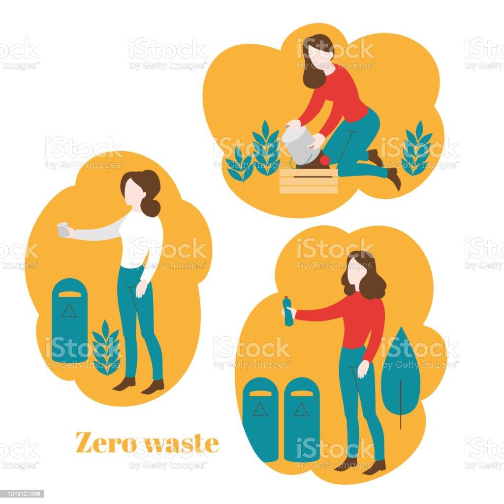 Ilustración De Mujer Plana De Reciclaje De Plástico Y Metal