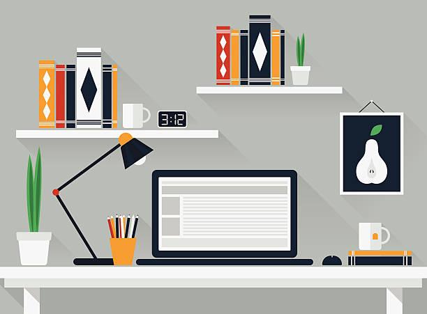 ilustrações, clipart, desenhos animados e ícones de espaço de trabalho plana - carteira