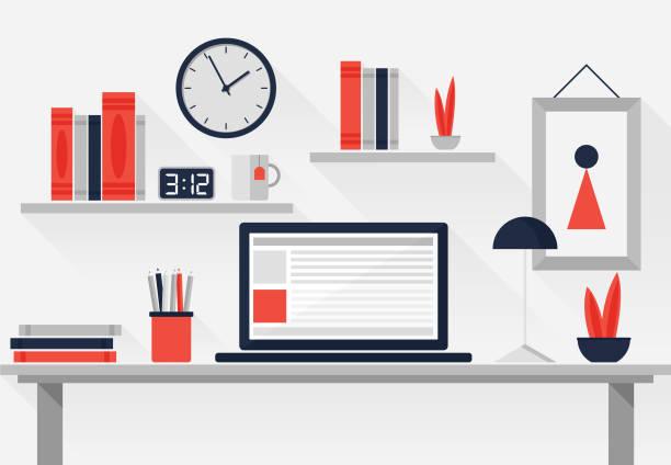 フラットなワークスペース - 机点のイラスト素材/クリップアート素材/マンガ素材/アイコン素材