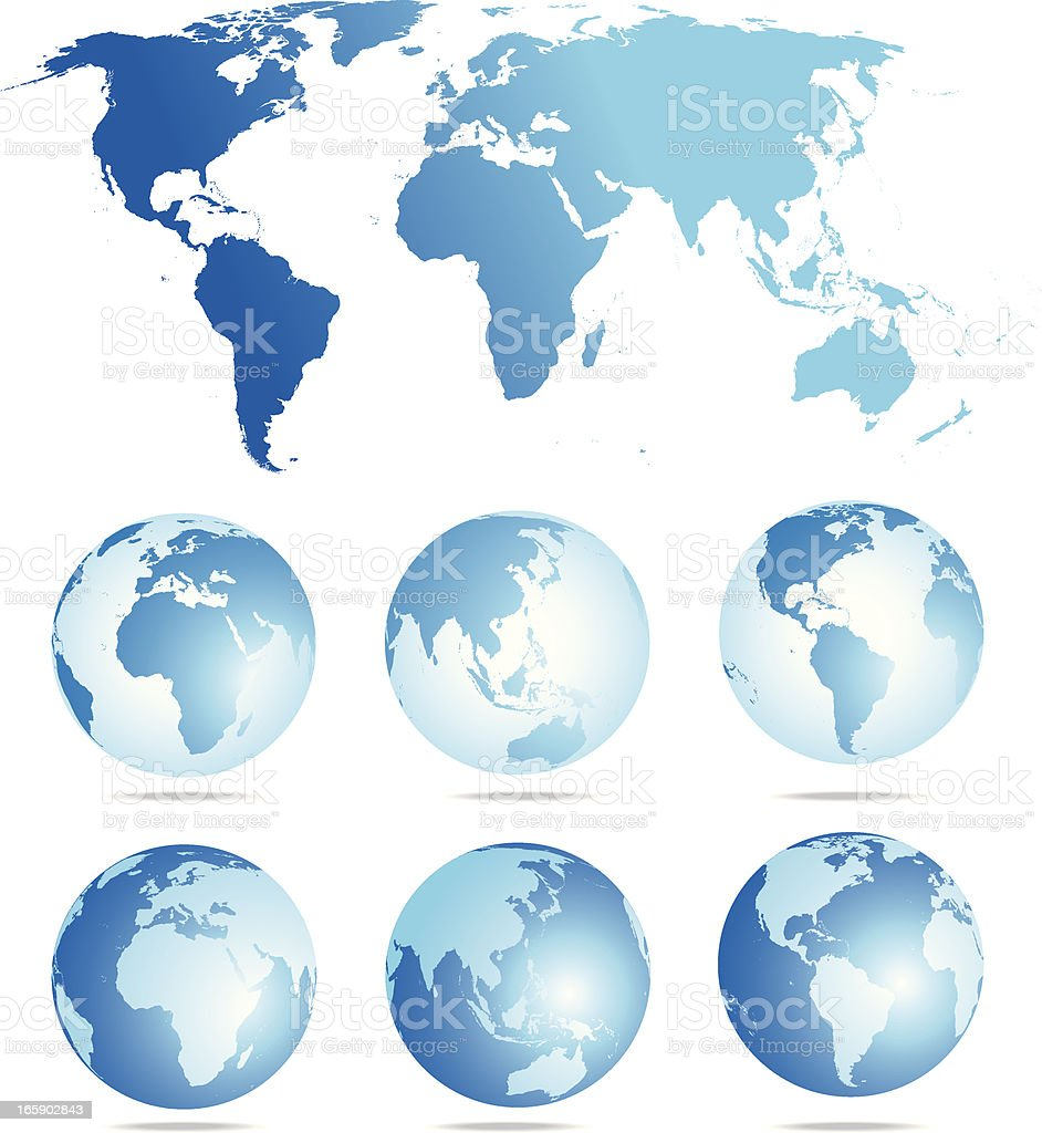 Flat world map and six globe showing different angles stock vector flat world map and six globe showing different angles royalty free flat world map and gumiabroncs Images