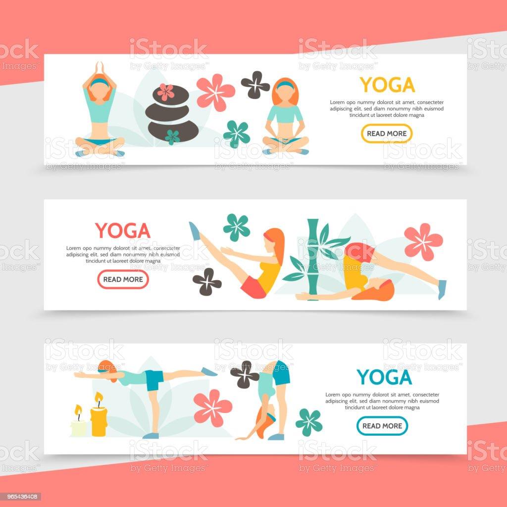 Flat Yoga Horizontal Banners royalty-free flat yoga horizontal banners stock vector art & more images of adult