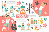 Flat yoga infographic template with girls exercising in different fitness poses bamboo spa cosmetic products flowers stones candles vector illustration
