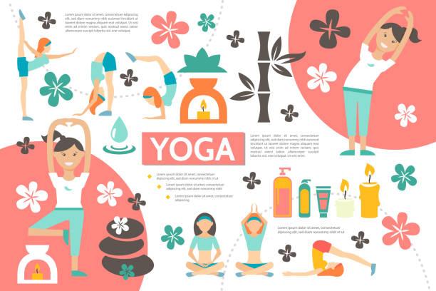 bildbanksillustrationer, clip art samt tecknat material och ikoner med flat yoga infographic mall - korslagda ben
