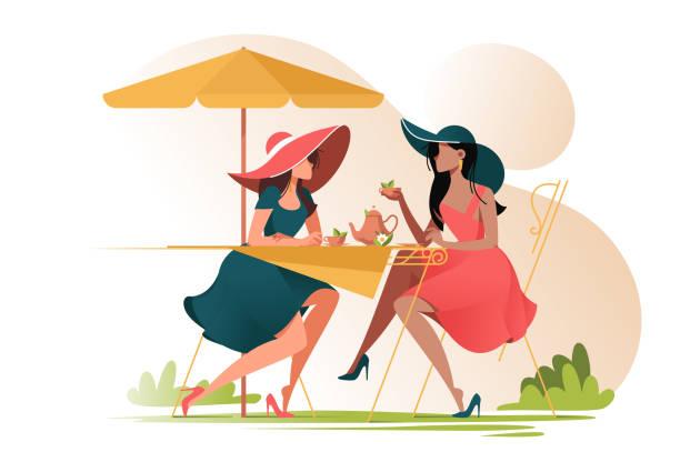 illustrazioni stock, clip art, cartoni animati e icone di tendenza di flat young girl friends in cafe on meeting outdoors. - camellia sinensis