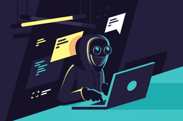 Flat young hacker programmer with laptop hacks programms and site. Flat young hacker programmer with laptop hacks programms and site. Concept modern man character, network security. Vector illustration. hacker stock illustrations