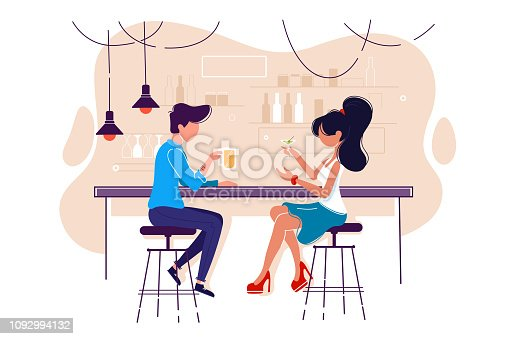 Flat young man and woman on date with drink in bar.