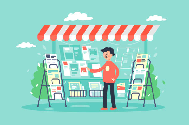 Flat young man newsagent in newsstand sells newspapers. Flat young man newsagent in newsstand sells newspapers. Concept market, sale of magazines. Vector illustration. commercial event stock illustrations