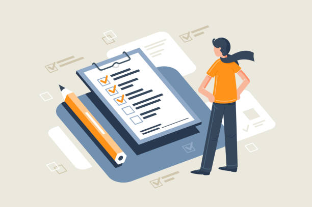 illustrazioni stock, clip art, cartoni animati e icone di tendenza di flat young man with scarf in front table with pencil and check sheet. - test