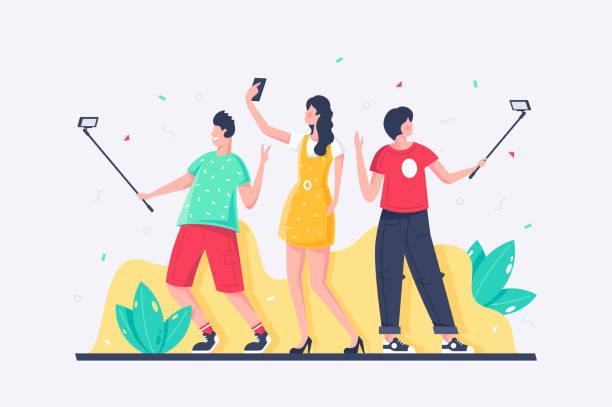 flache junge frau, frau, jeder nimmt selfies mit handy. - selfie stock-grafiken, -clipart, -cartoons und -symbole