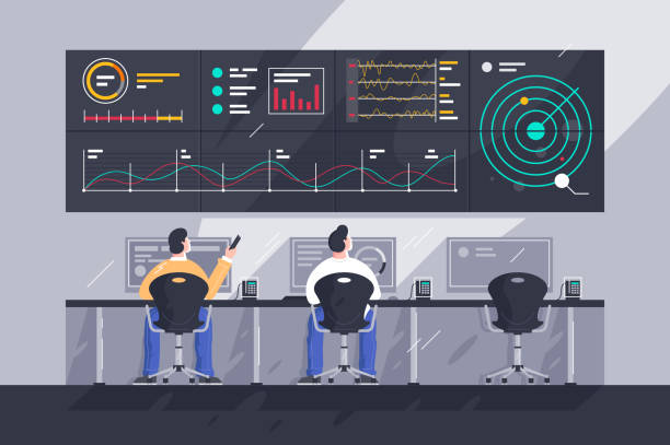 Flat young men employee with screens with charts at control center. Flat young men employee with screens with charts at control center. Concept businessman character at work in space tracking company. Vector illustration. cross section stock illustrations