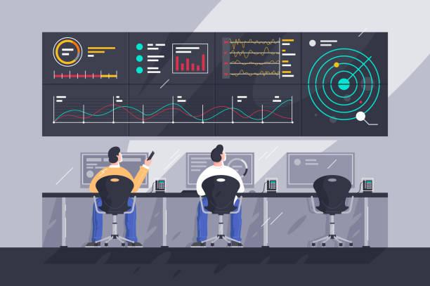 ilustrações de stock, clip art, desenhos animados e ícones de flat young men employee with screens with charts at control center. - watch