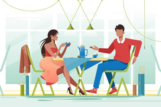 illustrazioni stock, clip art, cartoni animati e icone di tendenza di flat young romantic couple in cafe on date. - dinner couple restaurant