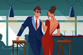 Flat young romantic couple in restaurant on date. Concept man with suit and woman with red dress characters drinking martini in glass goblet. Vector illustration.