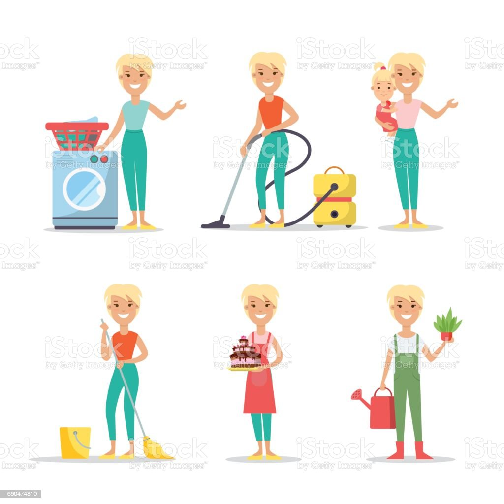 Flat Young smiley woman holding plant and watering can, vacuum, washing, cleaning, cooking, babysitting vector illustration set. Household chores concept. vector art illustration
