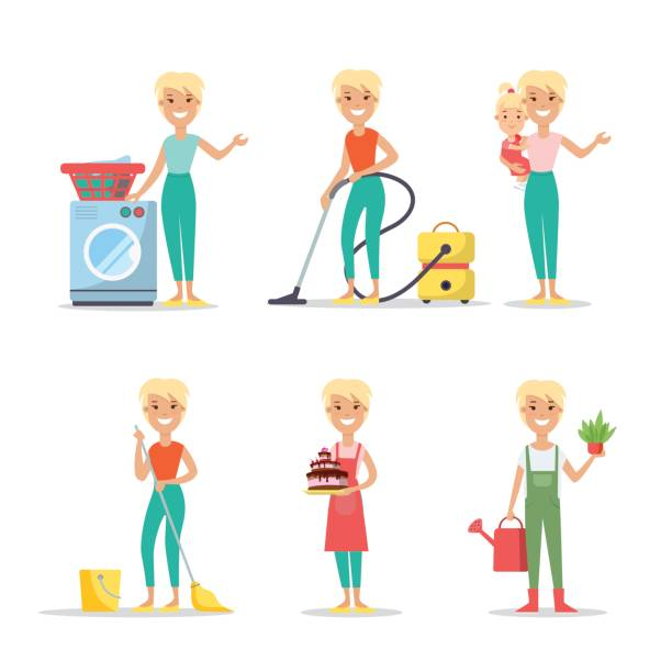 flat young smiley woman holding plant and watering can, vacuum, washing, cleaning, cooking, babysitting vector illustration set. household chores concept. - babysitter stock illustrations, clip art, cartoons, & icons