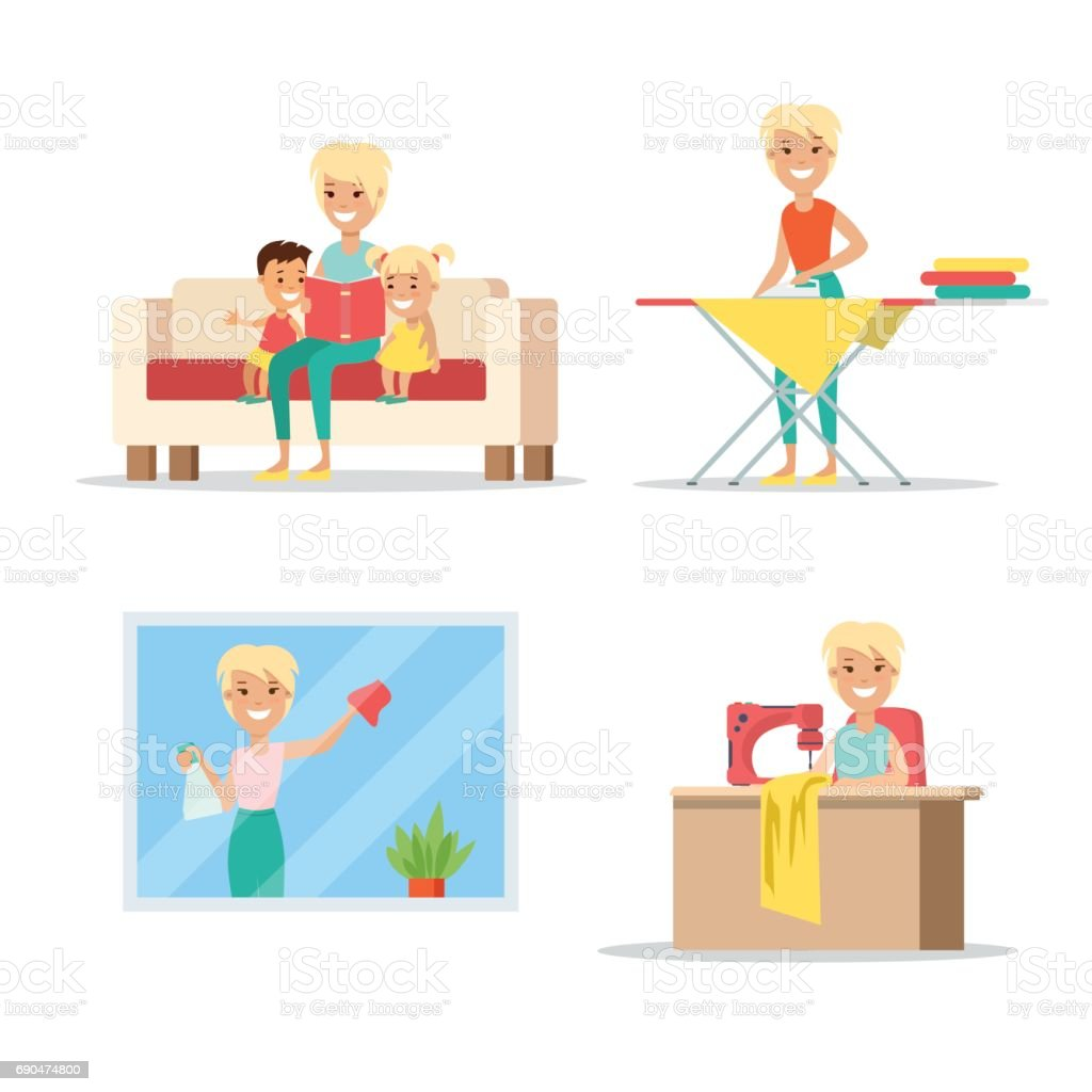 Flat Young smiley woman reading book to little children, sewing, ironing clothes, cleaning window, babysitting vector illustration set. Household chores concept. - Illustration vectorielle