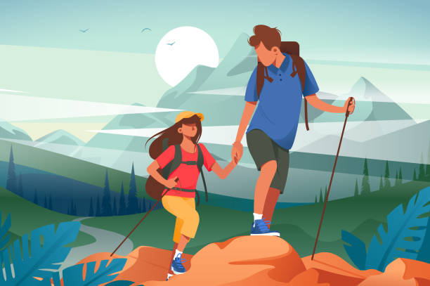 Flat young woman and man couple hiking in mountains. Flat young woman and man couple hiking in mountains. Concept friend characters with equipment in journey on forest and river background. Vector illustration. hiking stock illustrations