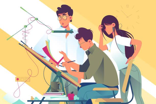 bildbanksillustrationer, clip art samt tecknat material och ikoner med platt ung kvinna och man team på arbetet med design projekt. - arbeta köksbord man