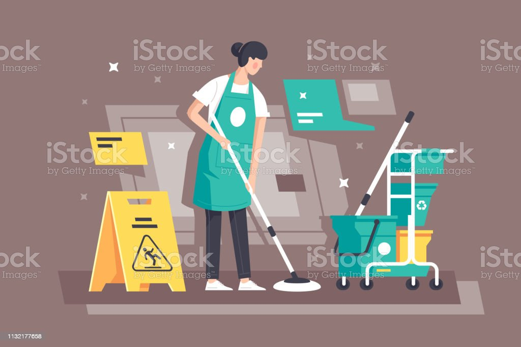 Platte jonge vrouw aan het werk in schoonmaakdiensten met speciale apparatuur. - Royalty-free Alleen volwassenen vectorkunst