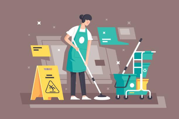 stockillustraties, clipart, cartoons en iconen met platte jonge vrouw aan het werk in schoonmaakdiensten met speciale apparatuur. - vrouw schoonmaken