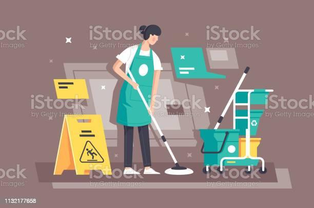 Platte Jonge Vrouw Aan Het Werk In Schoonmaakdiensten Met Speciale Apparatuur Stockvectorkunst en meer beelden van Alleen volwassenen