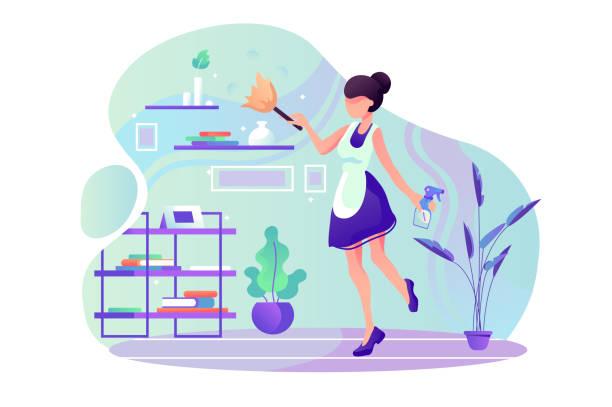 illustrazioni stock, clip art, cartoni animati e icone di tendenza di flat young woman maid at room cleaning service work. - cameriera