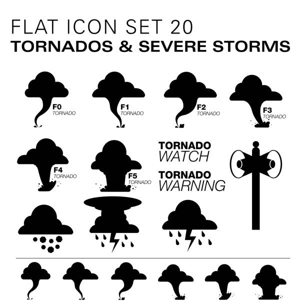 Flat20 icons- Tornados & Severe Storms A vector illustration of tornados with ratings and severe storm icons, in black. There are separate layers for easier editing.  hailstorm stock illustrations
