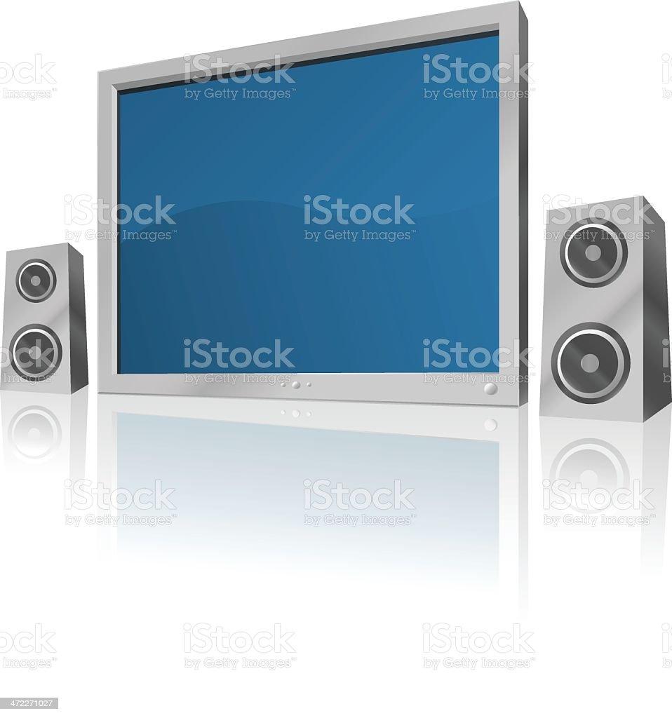 Flatscreen TV and Speakers [vector] royalty-free stock vector art