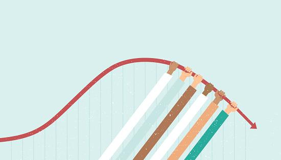 Flatten the curve concept for coronavirus COVID-19 disease outbrea