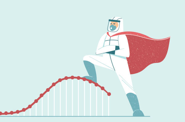 Flatten the curve. Doctor wearing full protective gear in superhero cape vector art illustration