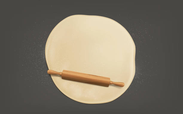 Flattening dough with rolling pin realistic vector Cooking sweet bakery or bread, preparing pizza on kitchen table, flattening, sprinkled with flour, dough by wooden rolling pin with handles top view, 3d realistic vector isolated on grey background pastry dough stock illustrations