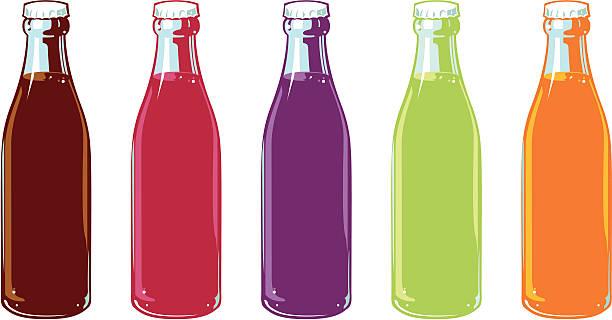 stockillustraties, clipart, cartoons en iconen met flavored soda bottles - cola