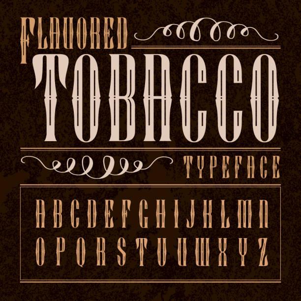 ilustrações, clipart, desenhos animados e ícones de tipo de rótulo de tabaco aromatizado. - composição