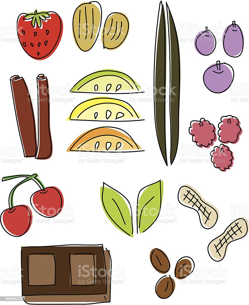 Flavors Drawn Design Elements vector art illustration